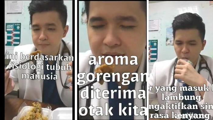 Dalam sebuah video, dr Vito mengajarkan trik memanipulasi otak dan lambung biar tidak tergoda makan gorengan (Foto: detikHealth)