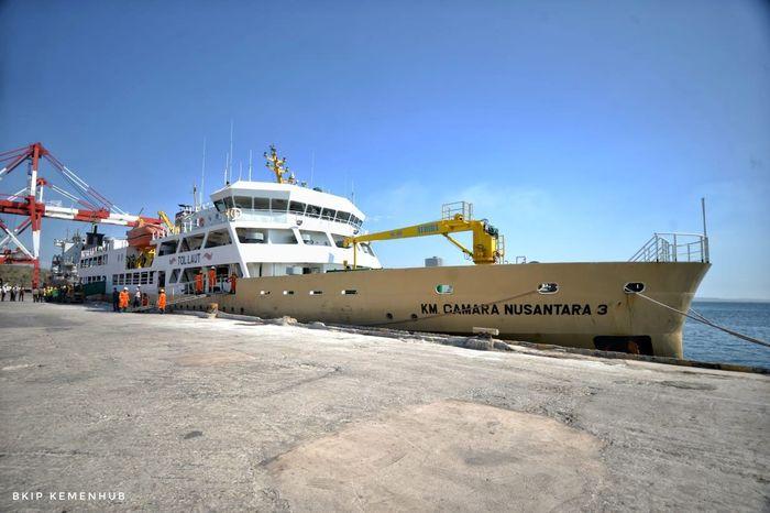 Pengangkutan ternak tersebut menggunakan KM Camara Nusantara 3 dari NTT ke Jakarta. Istimewa/Kementerian Perhubungan.
