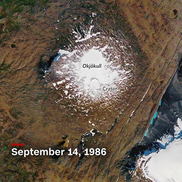 Hasilnya, dari foto udara terlihat gletser hampir hilang dari Gunung Okjokull. Tentu ini akibat dari perubahan iklim yang begitu cepat melingkupi bumi kita (CNN/Instagram)
