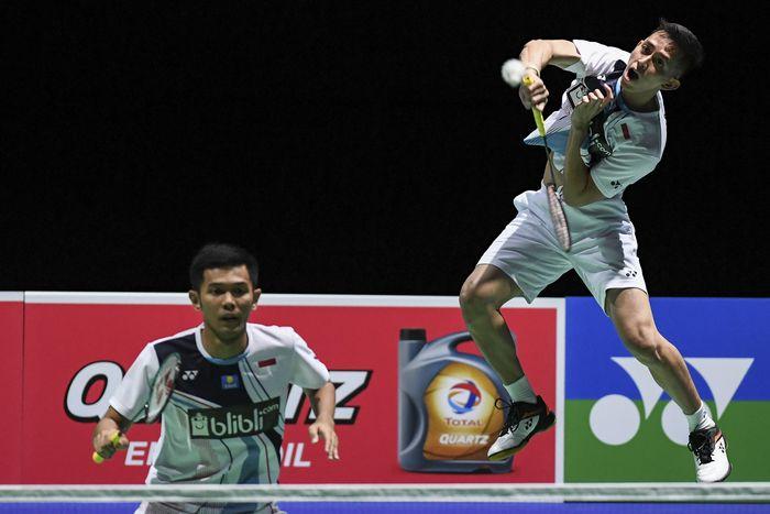 Indonesia menambah satu wakil lagi di babak ketiga Kejuaraan Dunia Bulutangkis 2019. Fajar Alfian/Muhammad Rian Ardianto lolos usai melewati duel tiga gim. ANTARA FOTO/Hafidz Mubarak.