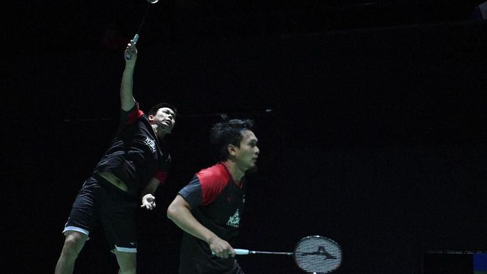 Mohammad Ahsan/Hendra Setiawan lolos ke babak kedua Hong Kong Open 2019 (Foto: Antara Foto/Hafidz Mubarak A)