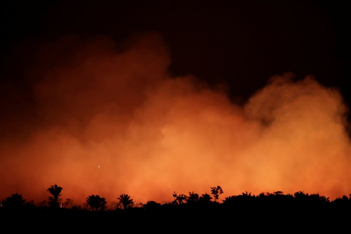 Kebakaran di Amazon. Foto: REUTERS/Ueslei Marcelino