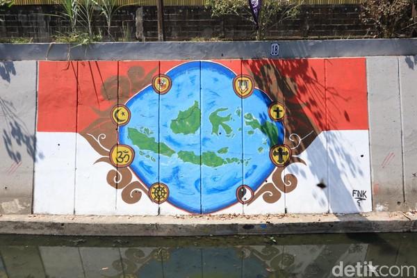 Mural Kepulauan Indonesia yang diikat oleh simbol dari agama-agama yang ada di Indonesia (Randy/detikcom)