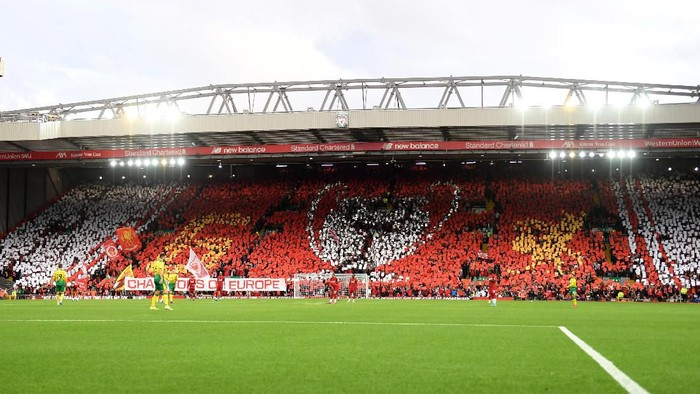 LIVERPOOL, ENGLAND - AUGUST 09: A general view inside the stadium as a TIFO display is shown in the Kop during the Premier League match between Liverpool FC and Norwich City at Anfield on August 09, 2019 in Liverpool, United Kingdom. (Photo by Michael Regan/Getty Images)