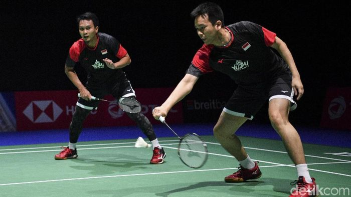 Hendra Setiawan/Mohammad Ahsan fokus menyiapkan mental jelang final Kejuaraan Dunia Bulutangkis. Foto: Antara Foto