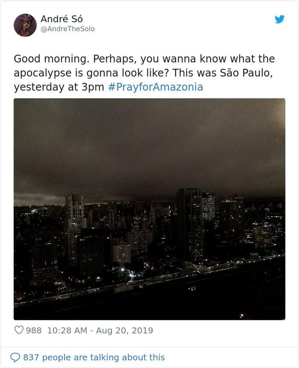 Dalam beberapa hari terakhir, warga setempat melaporkan kelamnya langit Sao Paulo walaupun sebenarnya Matahari belum terbenam. (Foto: Internet/Twitter)