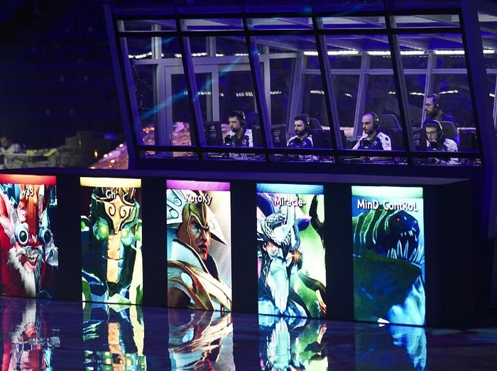 SHANGHAI, CHINA - AUGUST 25: Team OG at the awarding ceremony of the International 2019 Dota 2 World Championships at Mercedes-Benz Arena on August 25, 2019 in Shanghai, China. (Photo by Hu Chengwei/Getty Images)
