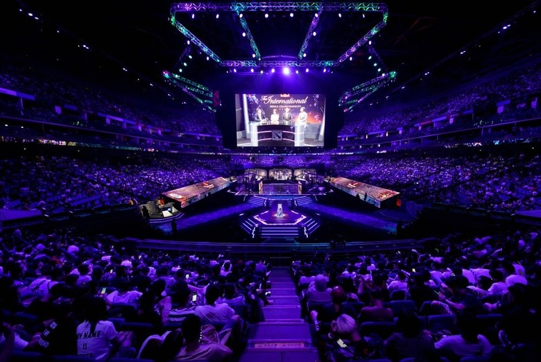 Turnamen internasional The International Dota 2 edisi tahun 2019 berlangsung di Mercedes-Benz Arena Shanghai, China. Foto: Reuters