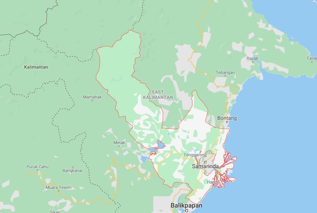 Ibu kota negara baru paling ideal adalah di sebagian Kabupaten Penajam Paser Utara dan sebagian di Kabupaten Kutai Kartanegara, Provinsi Kalimantan Timur, ujar Presiden Jokowi. Ini adalah wilayah Kabupaten Kutai Kartanegara dilihat di Google Maps. Foto: Google Maps