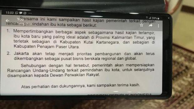 Jokowi Minta Restu DPR Pindahkan Ibu Kota, Ini Suratnya