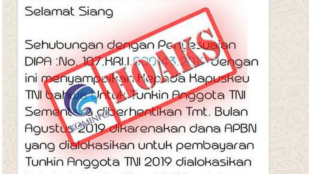 Kemhan: Kabar Tunjangan Kinerja Anggota TNI Disetop Hoax!