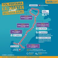 Peta Tol Pertama Kalimantan yang Lewat Ibu Kota Baru