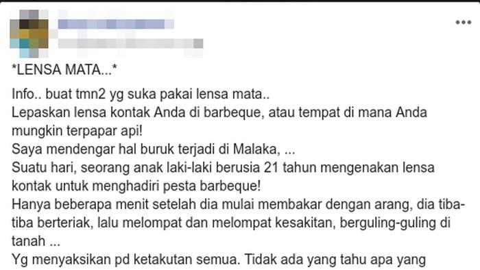 Kabar lensa kontak meleleh saat memanggang disebar netizen. (Foto: Tangkapan layar Facebook)