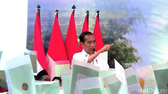 Presiden Jokowi bagikan ribuan sertifikat tanah di Purworejo. Foto: Rinto Heksantoro/detikcom