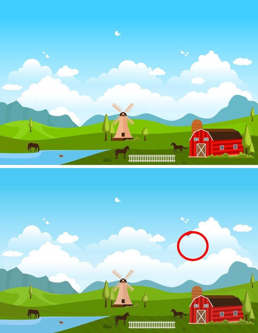 Jawabannya, tidak adanya awan seperti yang dilingkari bulatan merah. (Foto: Brightside)