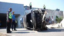 Diduga Sopir Ngantuk, Mobil Sedan Terjun Bebas dari Tol di Boyolali