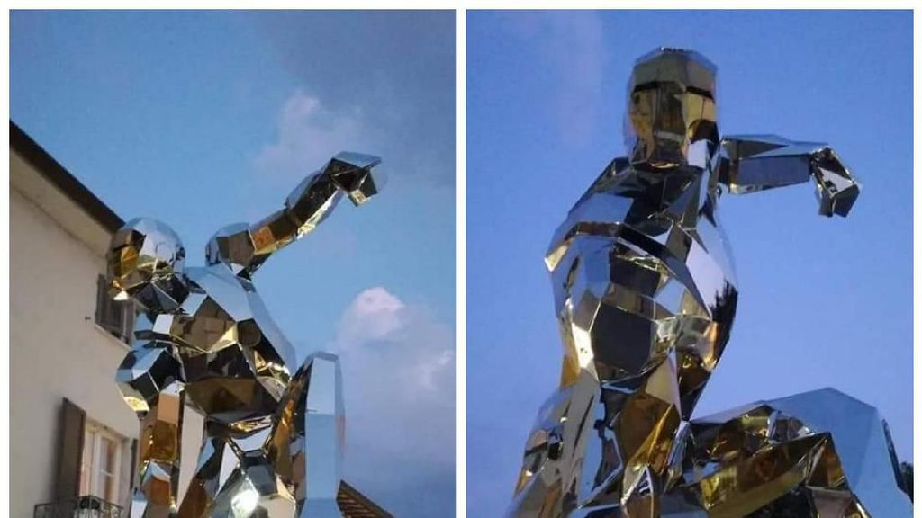 Patung Baja Penghormatan untuk Iron Man di Italia