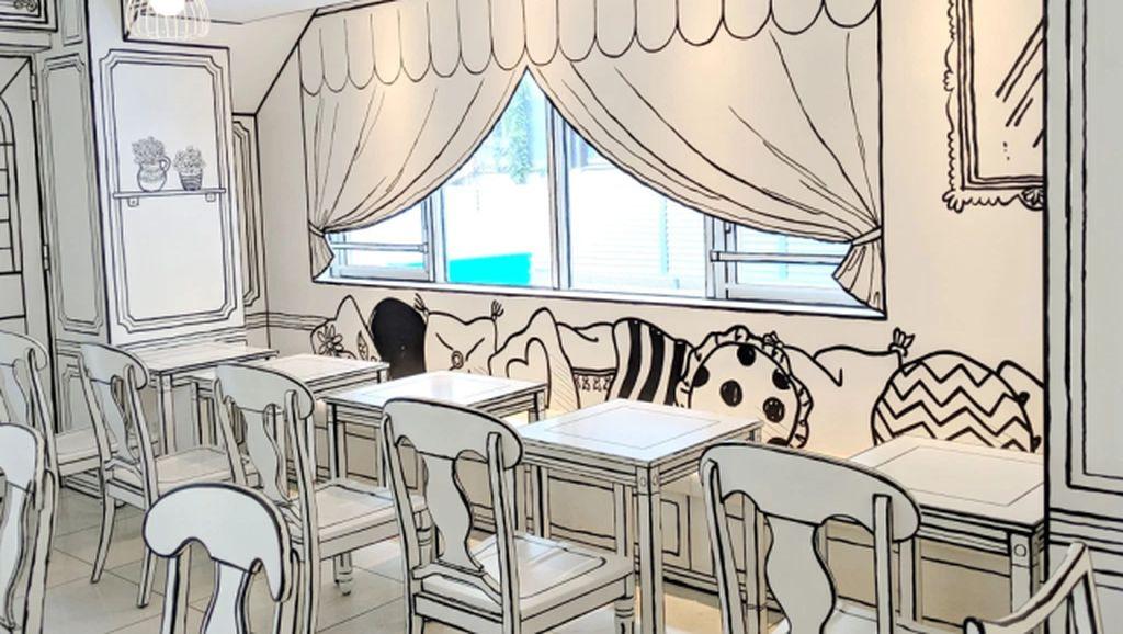 Kafe 2 Dimensi Ini Bikin Pengunjung Serasa Bersantap di Dunia Kartun