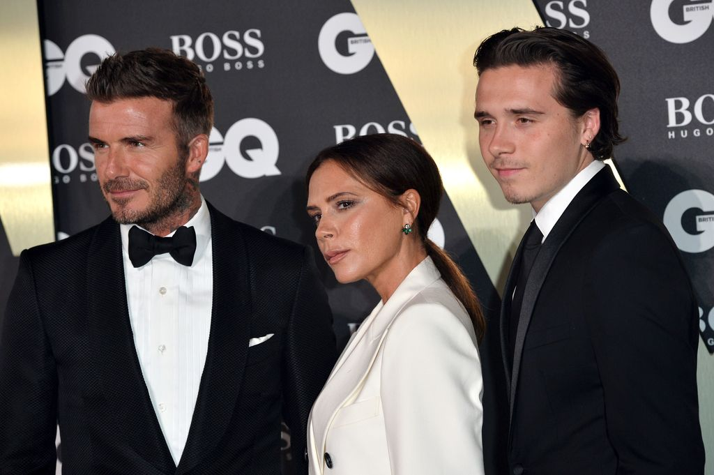 LONDON, ENGLAND - SEPTEMBER 03: David Beckham, Victoria Beckham and their son Brooklyn Beckham attend the GQ Men Of The Year Awards 2019 at Tate Modern on September 03, 2019 in London, England. (Photo by Jeff Spicer/Getty Images)