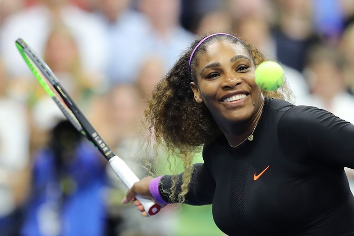 NEW YORK, NEW YORK - SEPTEMBER 05:  Serena Williams of the United States celebrates after winning her Womens Singles semi-final match against Elina Svitolina of the Ukraine on day eleven of the 2019 US Open at the USTA Billie Jean King National Tennis Center on September 05, 2019 in the Queens borough of New York City. (Photo by Elsa/Getty Images)