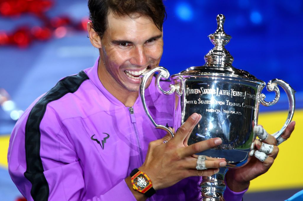 NEW YORK, NEW YORK - SEPTEMBER 08: Rafael Nadal of Spain celebrates after winning his Men's Singles final match against Daniil Medvedev of Russia on day fourteen of the 2019 US Open at the USTA Billie Jean King National Tennis Center on September 08, 2019 in the Queens borough of New York City. (Photo by Matthew Stockman/Getty Images)