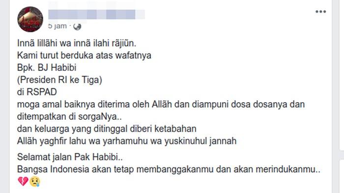 Contoh hoax BJ Habibie meninggal yang sudah dibagikan ratusan kali dalam hitungan jam. (Foto: Tangkapan layar Facebook)