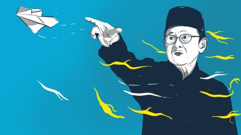Ilustrasi BJ Habibie (Foto: Denny Putra/detikcom)
