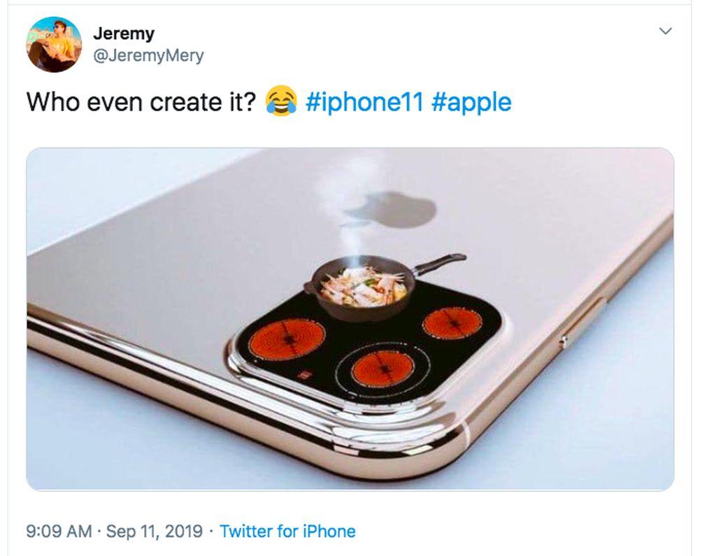 Netizen ini menganggap desain kamera iPhone 11 Pro seperti kompor. Foto: istimewa