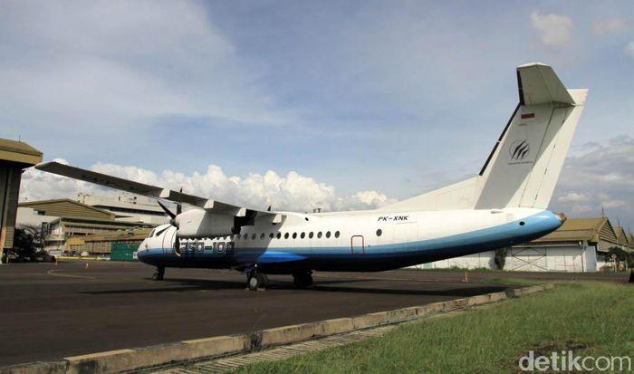Pesawat N250 terparkir di lapangan pesawat PT Dirgantara Indonesia, Kota Bandung, Jawa Barat. Foto diabadikan akhir Oktober Tahun 2017 lalu.