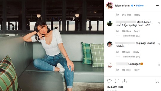 Komentar Unik Netizen di Foto Seksi Marion Jola