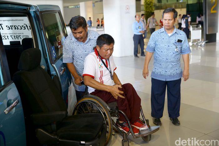 Kementerian Perhubungan menyelenggarakan kegiatan sosialisasi dan simulasi transportasi yang ramah bagi penyandang disabilitas di Terminal 3 Bandara Soekarno Hatta, Tanggerang Banten, Rabu (11/9/2019).