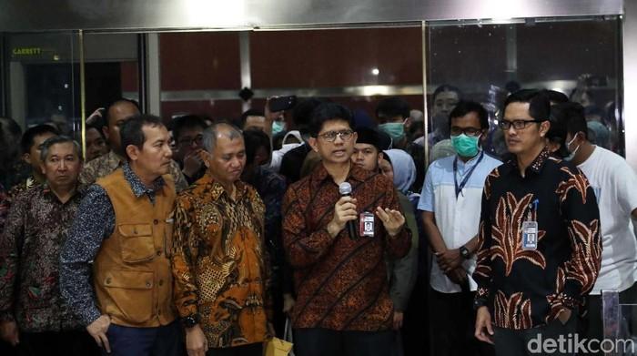 Pimpinan KPK saat menyampaikan mengembalikan mandat ke Jokowi. (Pradita Utama/detikcom).