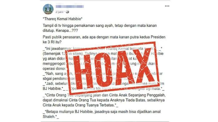 Contoh informasi hoax yang beredar terkait mata Thareq Habibie. (Foto: Tangkapan layar Facebook)