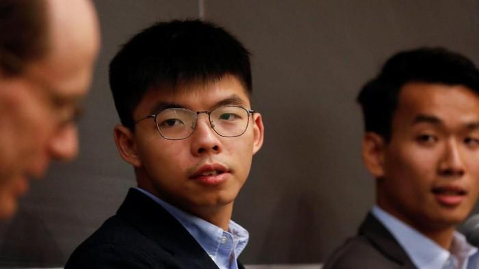 Joshua Wong saat menghadiri diskusi di Columbia University di New York, AS (REUTERS/Shannon Stapleton)