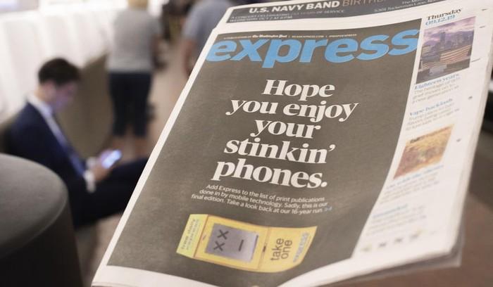 Terbitan terakhir surat kabar Express. Foto: Washington Times