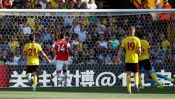 Dua Gol Aubameyang Buat Arsenal Ungguli Watford di Babak I