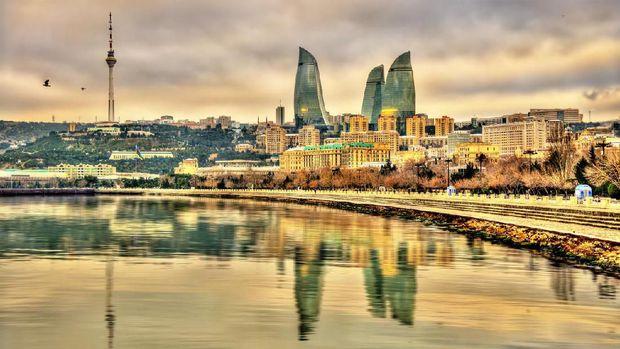 View to Baku from bird's eye