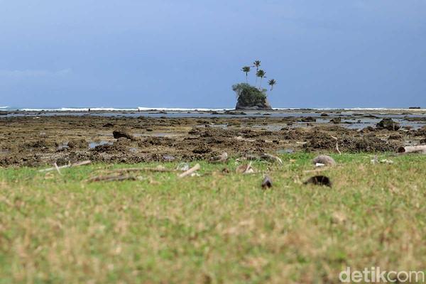 Pulau yang mirip di adegan pembukaan film kartun Spongebob ini berada di Pantai Angkeo, Kecamatan Teupah Barat, Pulau Sinabang, provinsi Aceh (Randy/detikcom)