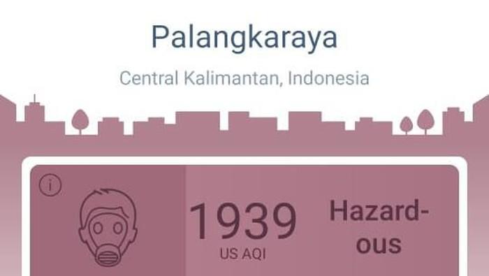 AQI yang ditunjukan untuk kualitas udara Palangkaraya. Foto: AirVisual