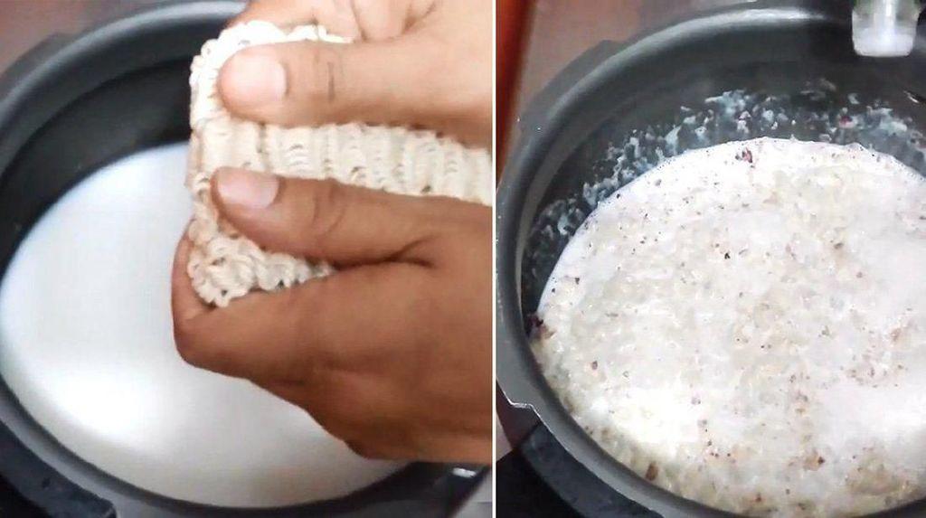 Wanita Ini Masak Mie Instan Pakai Bunga dan Susu Dinyinyiri Netizen