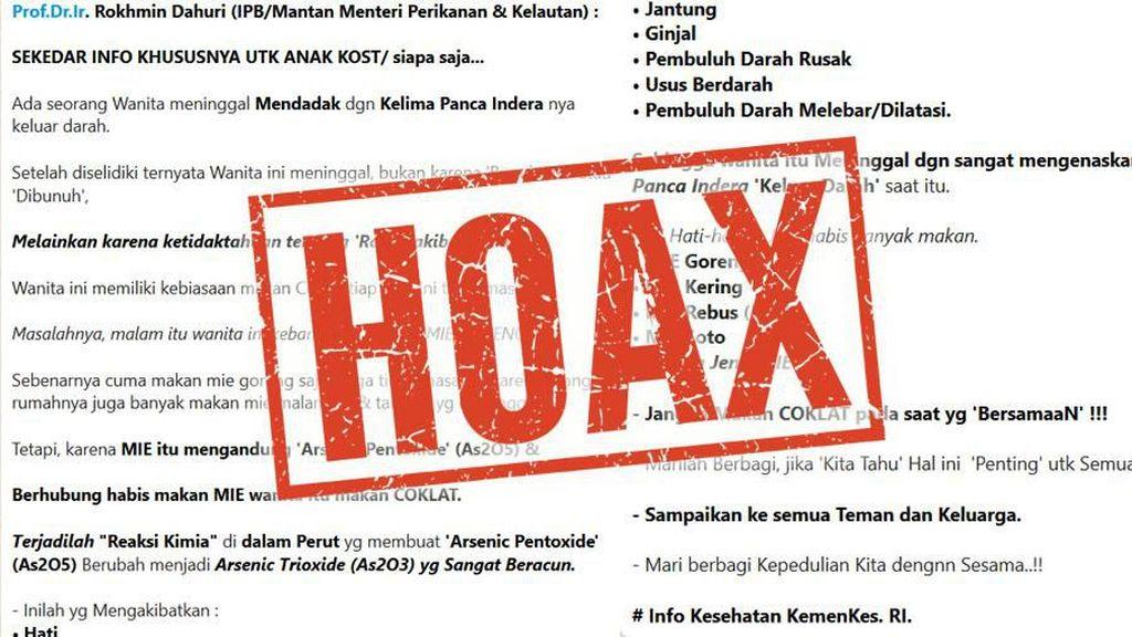 Hoax! Makan Cokelat setelah Mie Tak Bikin Meninggal