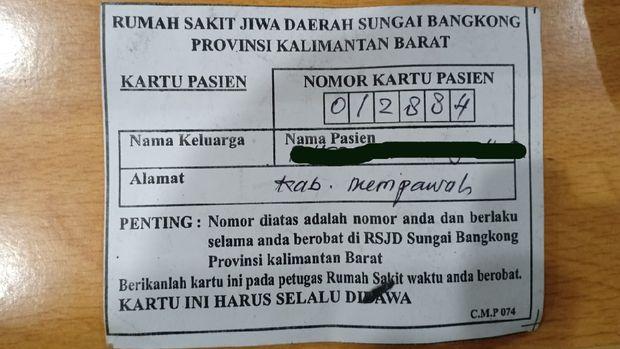 Kartu pasien RSJ Daerah Sungai Bangkong yang ditemukan pada pria yang diamankan di depan kantor Gubernur Kalbar