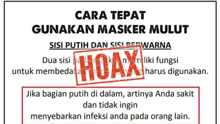 Muncul lagi hoax cara pakai masker dibalik. (Foto: Tangkapan layar Facebook)