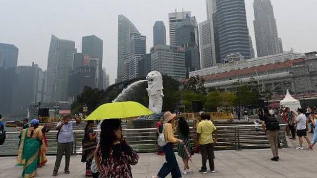 Suasana di Merlion Park, Singapura
