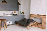 Dapur minimalis dengan sentuhan warna abu-abu.