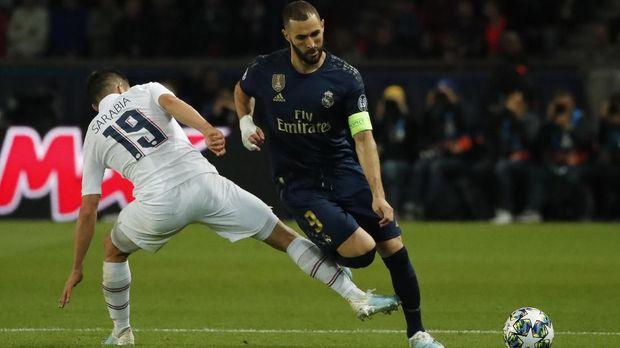 Karim Benzema tak mampu berbuat banyak saat Madrid dihabisi PSG. (
