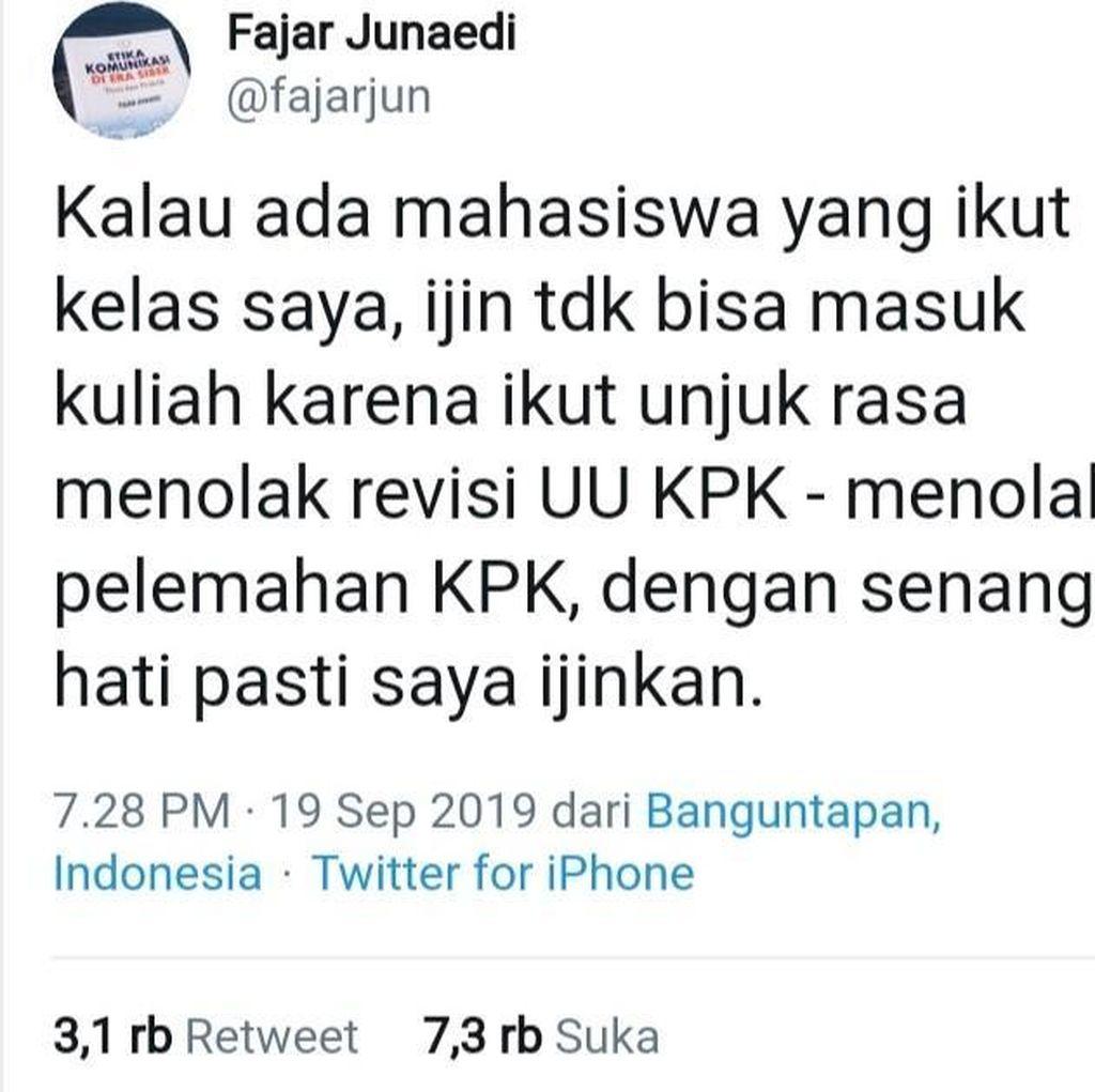 Ikut Demo Tolak Revisi UU KPK, Dosen Ini Izinkan Tak Kuliah