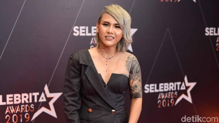 Evelyn saat ditemui di acara Selebrita Awards 2019.