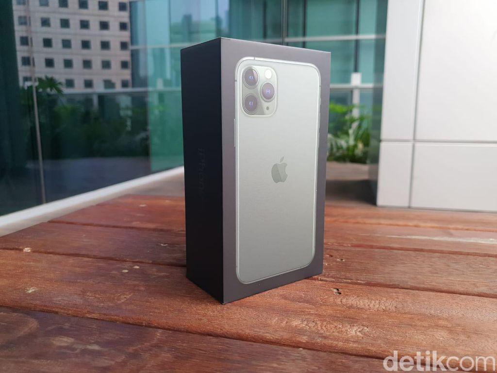 iPhone 11 Pro Midnight Green dikemas dalam kotak hitam. Foto: Adi Fida Rahman/detikINET