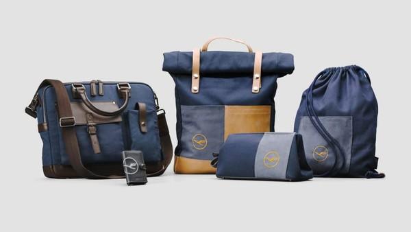 Dalam program ini, ada pula pembuatan koper hingga ransel dari selimut kelas bisnis. Sekitar 92% bahan suvenir berasal dari pesawat (CNN/Lufthansa)